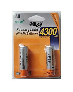 Set 2 Batteries Ministilo AA Rechargeables RTU 4300 mAh
